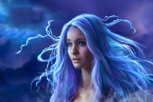 Blue Eyes Blue Hair Fantasy Girl Long Hair Woman