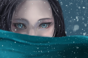 Blue Eyes Snowfall Anime Girl