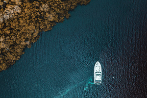 Boat Aerial View From Sky Wallpaper