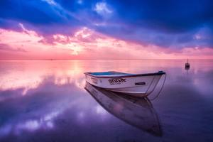 Boat Beach Seashore Reflection Sunset