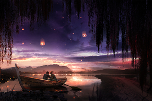 Boat Couple Dreamy Painting Lake Lantern Wallpaper