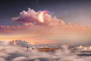Boat Stars Planet Fantasy Art Wallpaper