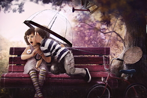 Boy and Girl On Bench Art Wallpaper