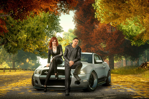 Boy And Girl Sitting Front Of Ford Shelby GT500 Super Snake Wallpaper