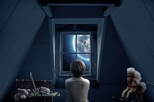 Boy Childhood Memories Dream World Out Of The Window 5k Wallpaper