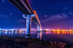 Bridge Under Water City Lights Colorful 5k Wallpaper