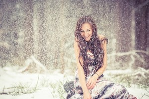 Brunette Girl Snow