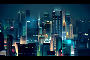 Buildings Lights Skyline Minimalist Wallpaper