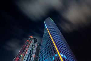 Buildings Skyscraper Dubai Nights 8k Wallpaper