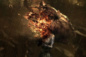 Burning Umbrella Girl Wallpaper