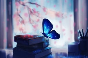 Butterfly Colorful Glowing Fantasy Artwork Books 5k