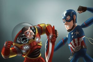 Buzz Lightyear As Iron Man And Sheriff Woody As Captain America Wallpaper