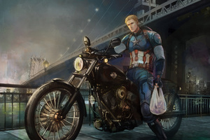 Captain America On Bike Back From Work Art Wallpaper