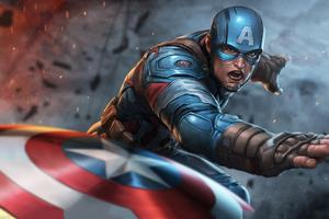 Captain America Throwing Shield Wallpaper