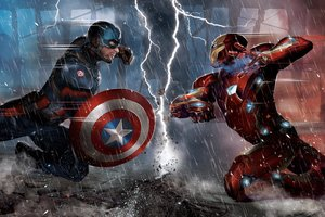 Captain America Vs Iron Man Comic 5k