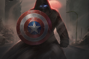 Captain America With His Shield Iron Mask Contest Of Champions Wallpaper