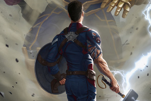 Captain America With Thor Hammer Wallpaper
