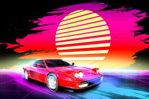 Car Retro Artwork 4k