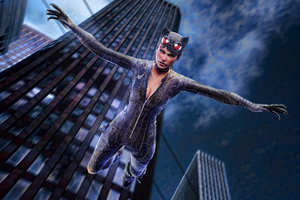 Catwoman Jumping Out Of Building Artwork 4k