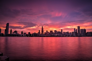Chicago Buildings Evening Lights Skycrapper Sunrise Wallpaper