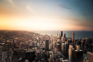Chicago Cityscape Buildings Sea 5k Wallpaper