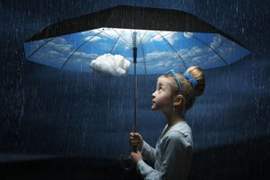 Child Clouds Minimalism Wallpaper