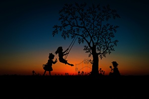 Children Play Swing Evening Sky