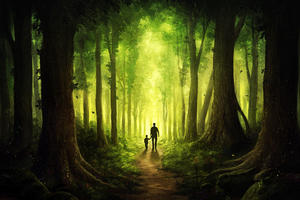 Children Walking With Dad Journey To Forest Wallpaper