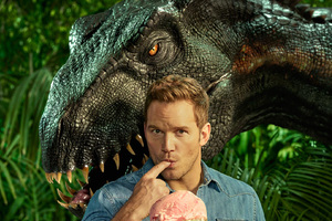 Chris Pratt With Indoraptor In Jurassic World Fallen Kingdom Entertainment Weekly