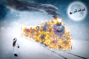 Christmas Motif Train Children Wallpaper