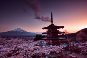 Churei Tower Mount Fuji In Japan 8k