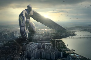 City Giant Angel Fantasy 5k Wallpaper