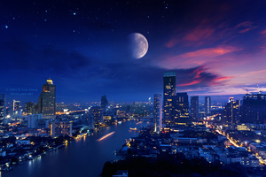 City Lights Moon Vibrant 4k