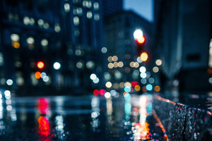 City Rain Blur Bokeh Effect Wallpaper