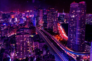 Cityscape Skyscraper Pink Lights Buildings 4k Wallpaper