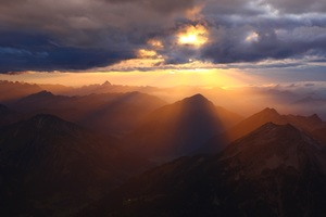Cloud Rays Over Mountains