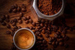 Coffee Beside Coffee Beans Wallpaper
