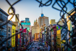 Colorful City View From Broken Fence Wall 5k Wallpaper