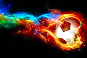 Colorful Football Flame Digital Art Wallpaper