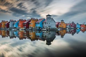Colorful Hut Houses Reflection 5k Wallpaper