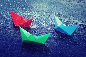 Colorful Paper Boats Wallpaper