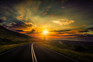 Cool Sunset Road View 8k Wallpaper