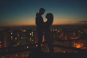 Couple Silhouette City View Behind
