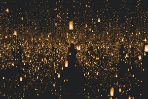 Covered By Lanterns Lights Dark 5k Wallpaper