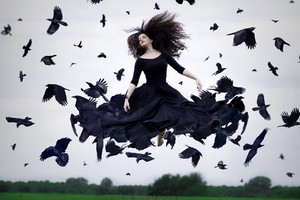 Crow Woman Photography Wallpaper