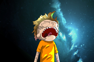 Crying Morty Digital Art Wallpaper