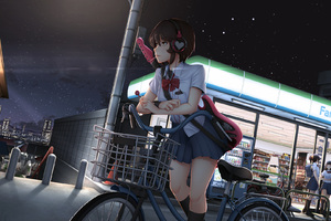Cute Anime Girl With Bicycle Listening Music On Headphones