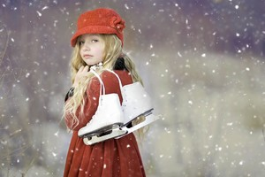 Cute Girl Ice Skates Wallpaper