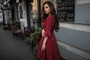Cute Girl Outdoors In Red Dotted Skirt Dress Wallpaper