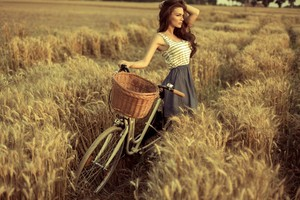 Cute Girl With Cycle